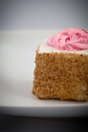 Little Square Cake with  pink sugar icing
