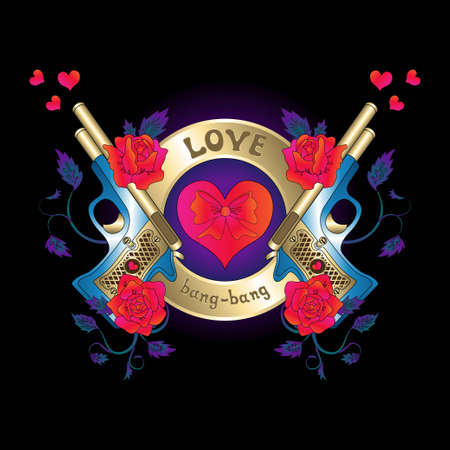 love, heart, bang-bang, gun, valentine Vector
