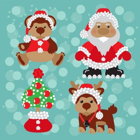 deer, christmas, tree, new year, santa, snow, teddy, Stock Vector - 17007402