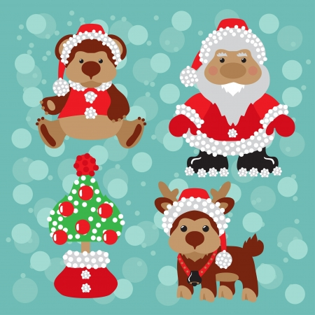 deer, christmas, tree, new year, santa, snow, teddy, Illustration