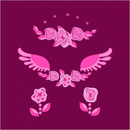 rose,wings,star,flowers, leaf, pink Illustration