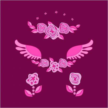 rose,wings,star,flowers, leaf, pink Stock Vector - 17007404