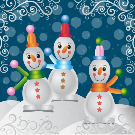Merry Christmas snowman funny kids new year Stock Vector - 17007409