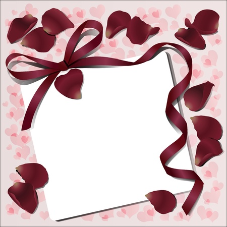 Paper with rose petals and Reds bow with a ribbon for a declaration of love