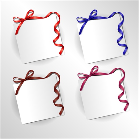 sheet of paper with a bow and twisted ribbon Vector