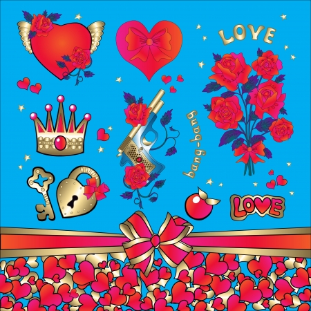 heart with crown: set for a declaration of love from the heart  Roses, stars, key, lock, heart, crown, bouquet, apple, a pistol with bullets
