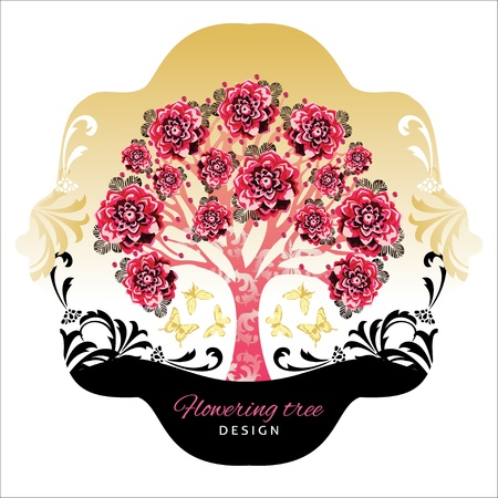 abstract beautiful tree with flowers and decor Stock Vector - 17375291