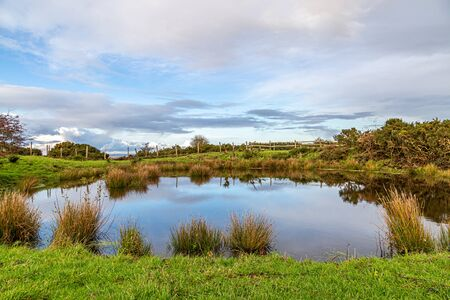 A dew pond on Ditchling Beacon in late autumn