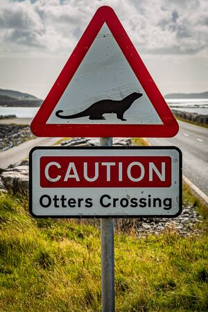A sign warning of otters, on the causeway between South Uist and Eriskay in the Western Isles