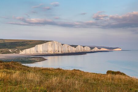 Looking across at the Seven Sisters cliffs in East Sussex, with evening light
