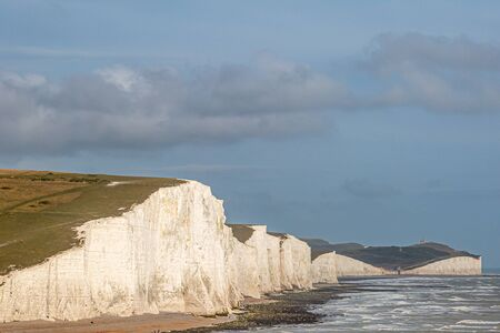 A view of the Seven Sisters cliffs in East Sussex, on a summers evening Banque d'images