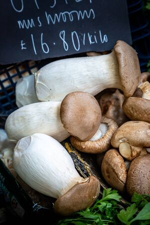 Oyster mushrooms for sale on a market stall