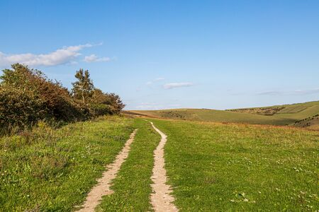 A pathway through a green rural landcape near Lewes in Sussex, on a sunny summers  evening
