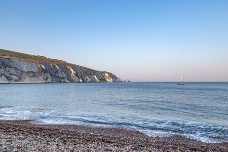 Looking out from the beach at Alum Bay on the Isle of Wight towards The Needles