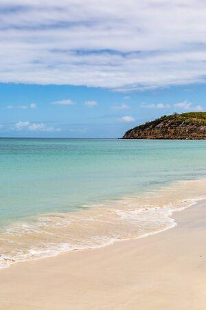 A sandy beach on the Caribbean island of Antigua