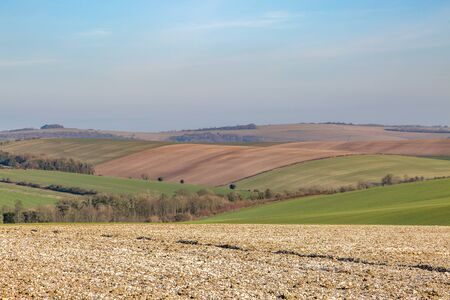 Fields in the Sussex countryside on a sunny winters day