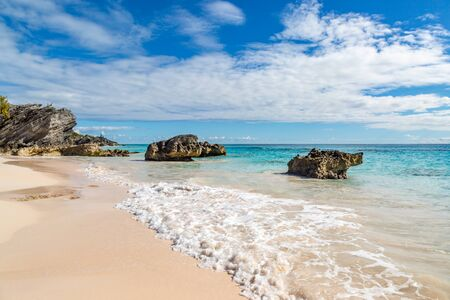 The sandy beach and rock formations at Horseshoe Bay, Bermuda