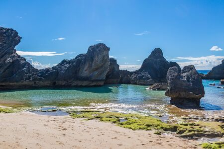 A pretty cove with rock formations, on the island of Bermuda
