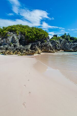 Footprints on the sandy beach, at Horseshoe Bay on the island of Bermuda