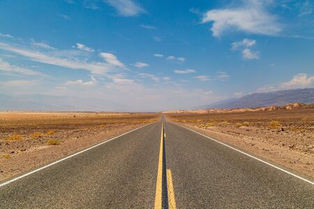 A long road through Death Valley in California