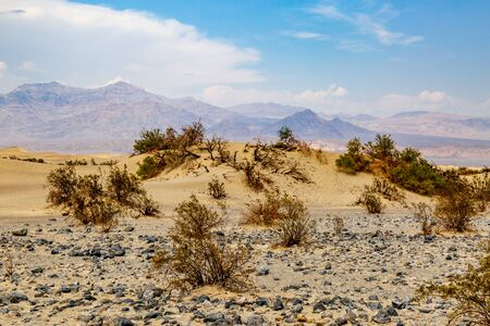 The Mesquite Flat Sand Dunes and Distant Mountains, in Death Valley National Park, California Stock Photo