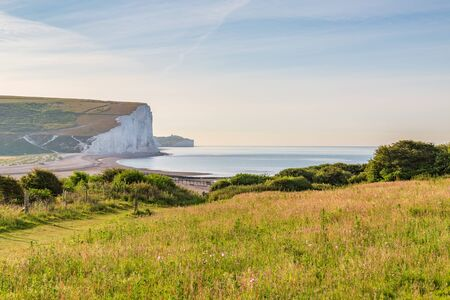 The whie cliffs at Cuckmere Haven along the Sussex Coast