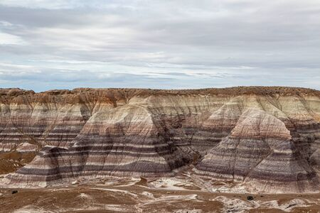 Looking out over colourful rock formations in The Painted Desert, Arizona