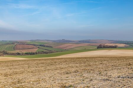 A patchwork landscape in Sussex, on a sunny winters day