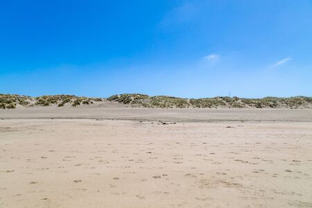 Looking back from the sea towards the sand dunes, at Ocean Beach, San Francisco