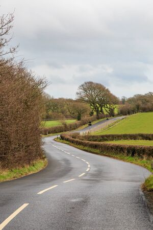 A winding country road on the Isle of Wight