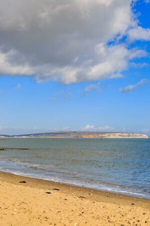 Looking across Shanklin Beach towards Culver Down, on the Isle fo Wight