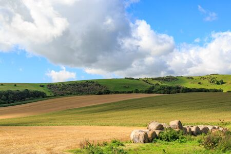 A Sussex patchwork landscape with a pile of haybales in a field
