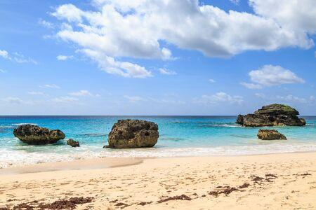 An idyllic sandy beach on the island of Bermuda Banco de Imagens