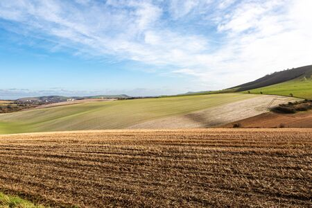 Looking over farmland in the South Downs on a sunny winters day Stock Photo