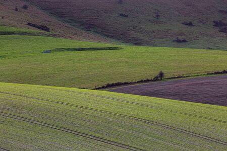 A full frame farm landscape of the South Downs, on a sunny winters day Stock Photo