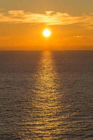 Sunset over the ocean, at Seaford in Sussex