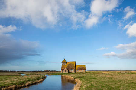 A view of St Thomas a Becket Church at Fairfield, on Romney Marsh in Kent