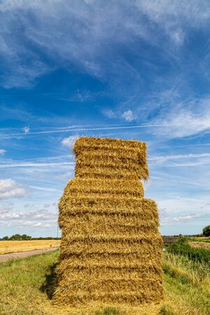 A haystack in the Kent countryside on a sunny summers day
