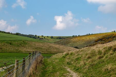 A view in the South Downs in Sussex, on a sunny spring day
