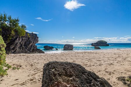 Looking out over the ocean from the sandy beach at Horseshoe Bay on the island of Bermuda
