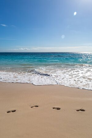 Footprints in the sand on the island of Bermuda
