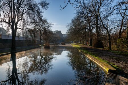 A clear winters morning at The Pells, in the Sussex town of Lewes 版權商用圖片