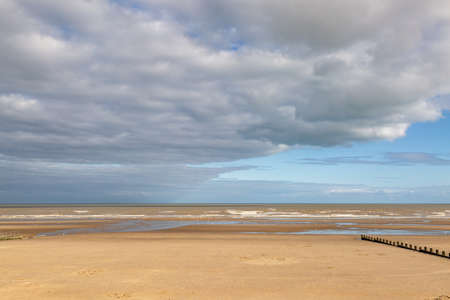 Looking out over the sandy beach at Dymchurch, on a late summers day