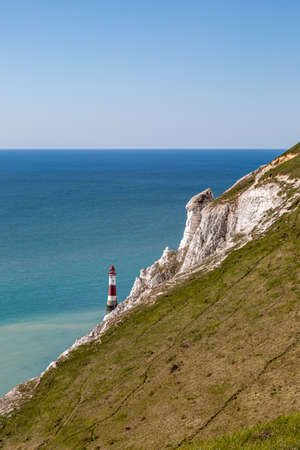 Beachy Head Lighthouse on the Sussex Coast on a Sunny Day Imagens