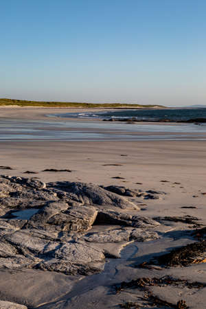 A deserted sandy beach on the Hebridean island of South Uist