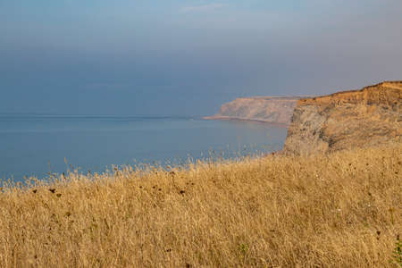Looking along the coastline of the Isle of Wight, towards Freshwater Bay