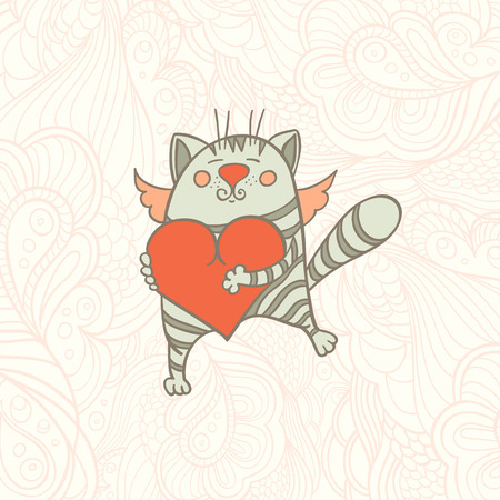 wallpapper: vector_cat_with_heart_and_wings
