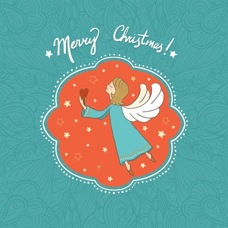 baby angel: Illustrazione di vettore con volare cuore in possesso di Angelo di Natale nelle sue mani. Pu� essere utilizzato per la carta, cartolina, manifesto, invito, carta da parati, design tessile, disegno del tessuto, copertura, banner, adesivo. Vettoriali