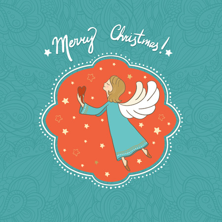 Vector illustration with flying Christmas angel holding heart in her hands. It can be used for card, postcard, poster, invitation, wallpaper, textile design, fabric design, cover, banner, sticker. Vector