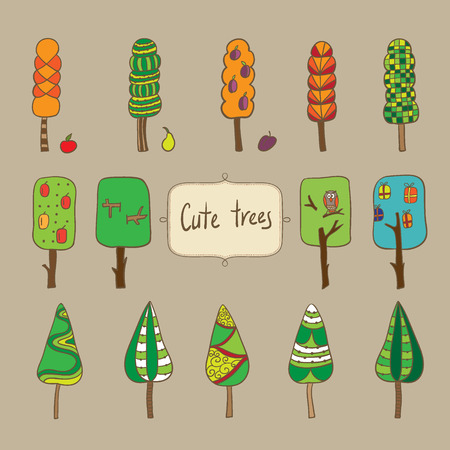 set of vector cute trees. It can be used for card, postcard, textile design, cover, poster. Vector